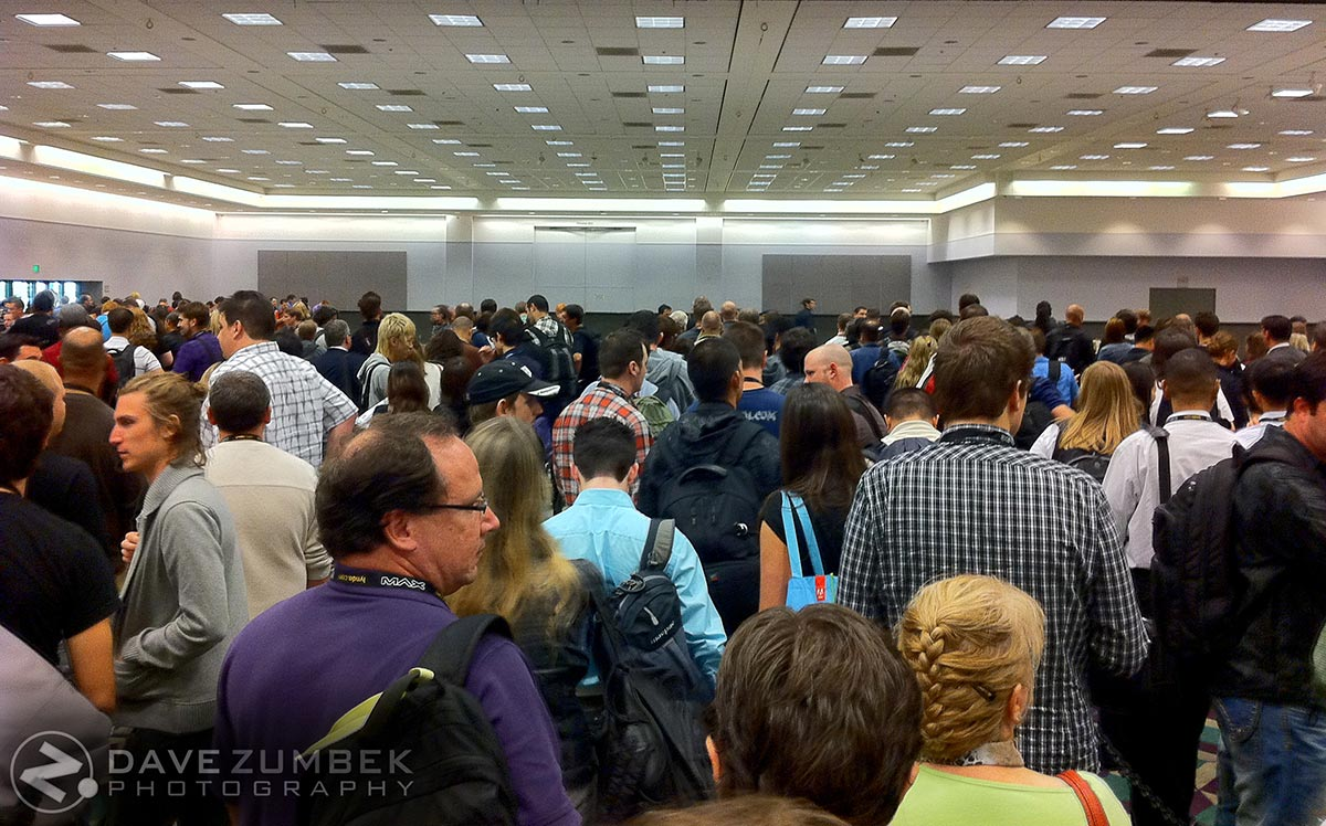 A shot of Dave Zumbek's perspective in a large, crowded room. - Dave Zumbek Photography