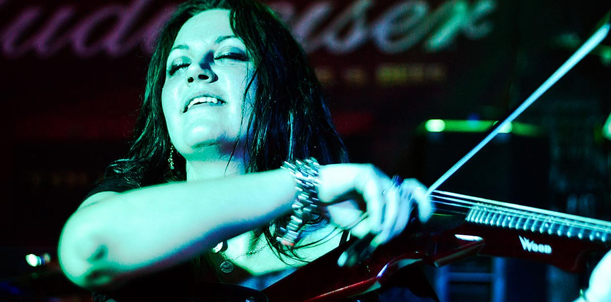 Photo of Jenna Scifres playing violin with Us Against Them in Peoria, IL - Band Photography - Dave Zumbek Photography